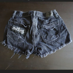 Black Metal Les Discrets Black Jean Shorts Patched